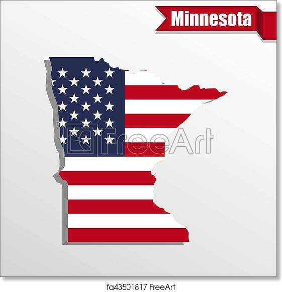 Free art print of Minnesota State map with US flag inside and ribbon ...