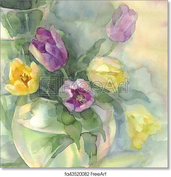 Free Art Print Of Color Tulips In Vase Watercolor Color Tulips