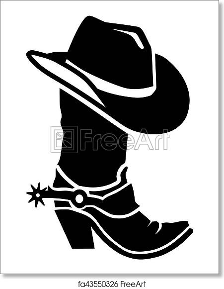 Free art print of Cowboy boot with hat  bd22a89efd54