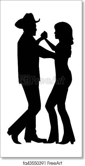 free art print of country dancing couple silhouette freeart