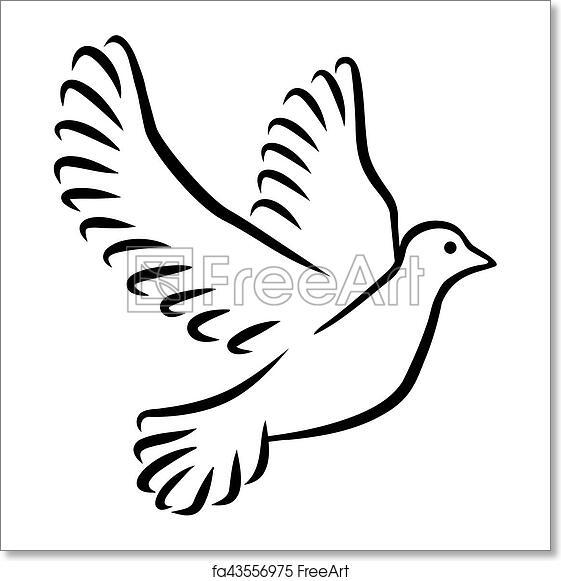 Free art print of Dove silhouette drawn