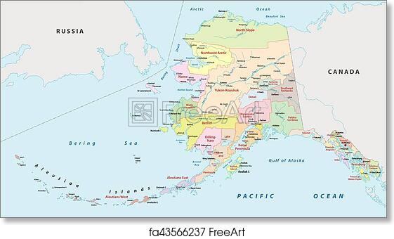 picture regarding Printable Map of Alaska known as Cost-free artwork print of Alaska administrative map