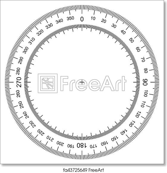 photograph relating to Free Printable Protractor named Free of charge artwork print of Blank protractor - True Dimensions Commencement isolated upon record