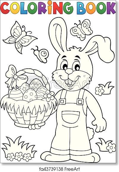 Free Art Print Of Coloring Book Easter Rabbit. Coloring Book Easter Rabbit  Illustration. FreeArt Fa43739138