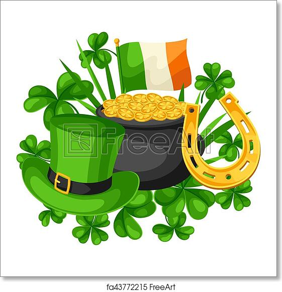 photo relating to St Patrick's Day Cards Free Printable known as Cost-free artwork print of Saint Patricks Working day card. Flag Eire, pot of gold cash, shamrocks, eco-friendly hat and horseshoe