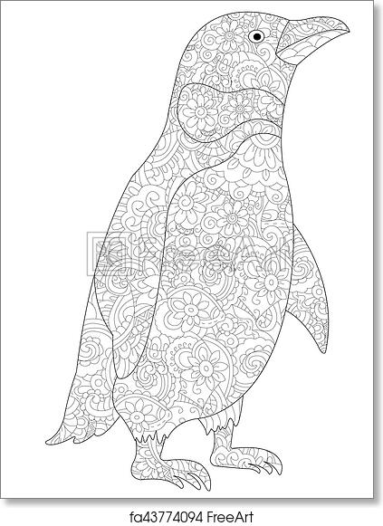 - Free Art Print Of Penguin Coloring Vector For Adults. Penguin Coloring Book  For Adults Vector Illustration. Anti-stress Coloring For Adult. Zentangle  Style. Black And White Lines. Lace Pattern Feline FreeArt |