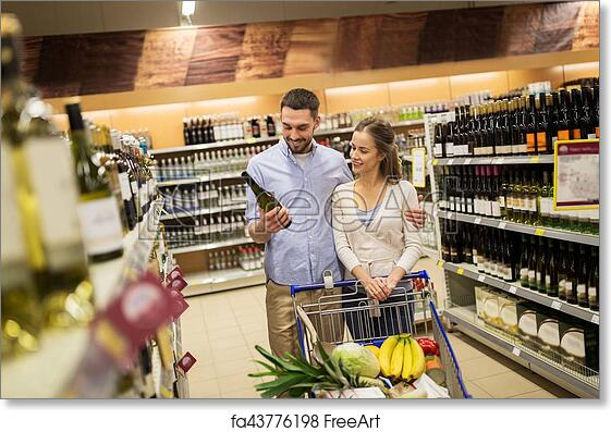 Free Art Print Of Couple With Wine And Shopping Cart At Liquor Store