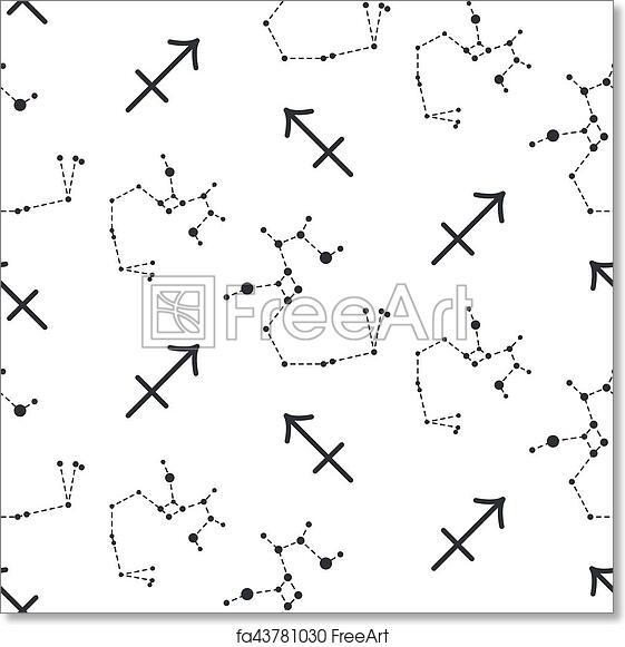 graphic relating to Printable Constellation Patterns identify Free of charge artwork print of Sagittarius constellation seamless vector routine.