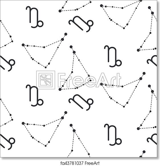 image relating to Printable Constellation Patterns referred to as Free of charge artwork print of Capricorn constellation seamless vector routine.