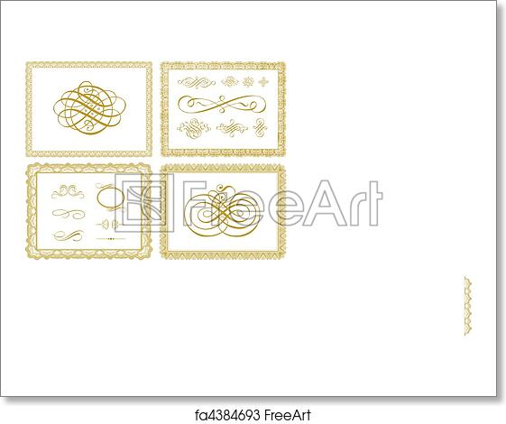 free art print of vector certificate borders and ornaments set of