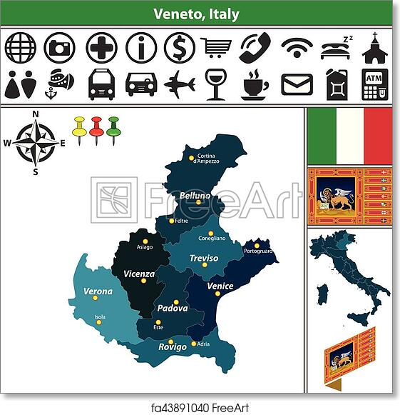 Regions Italy Map.Free Art Print Of Veneto With Regions Italy Vector Map Of Veneto