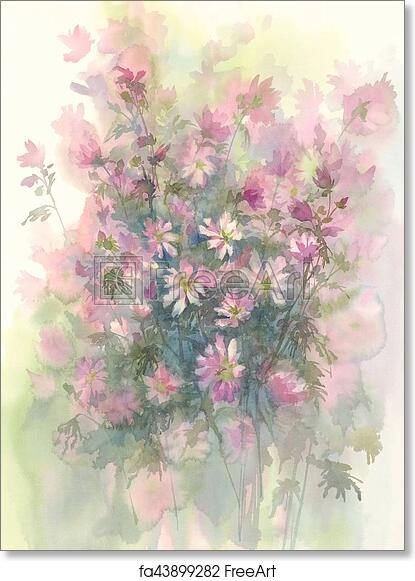 Free Art Print Of Pink Flower Watercolor Background Chicory Flower