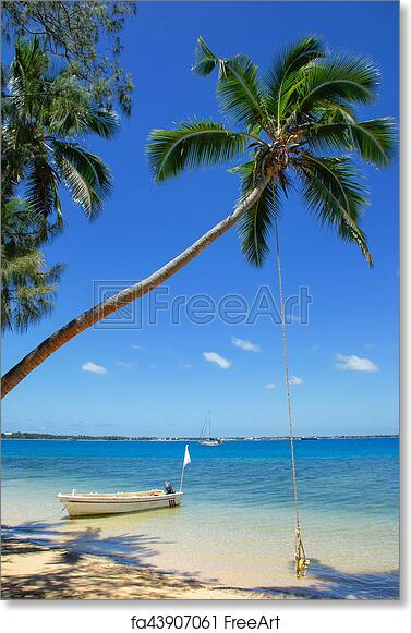 free art print of leaning palm tree with rope swing at pangaimotu
