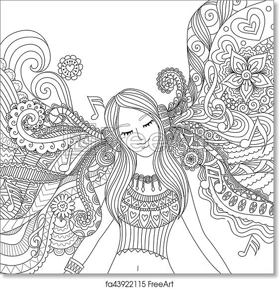 Free art print of Girl listen to music adult coloring book. Girl ...