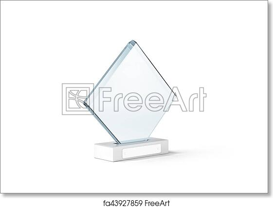 Free art print of Blank glass trophy mockup stand on clear marble base,