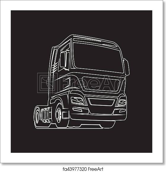 Free Art Print Of Truck Outline Cargo Freight Logo Template