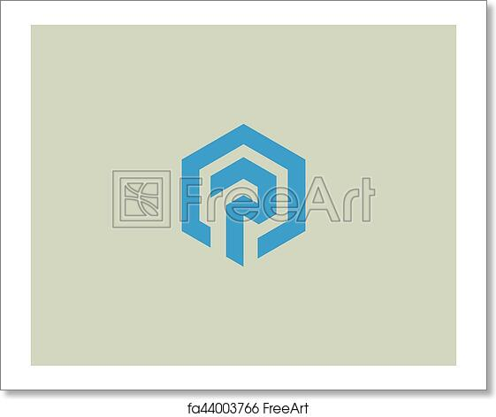 Free Art Print Of Abstract Letter P Vector Logotype. Line