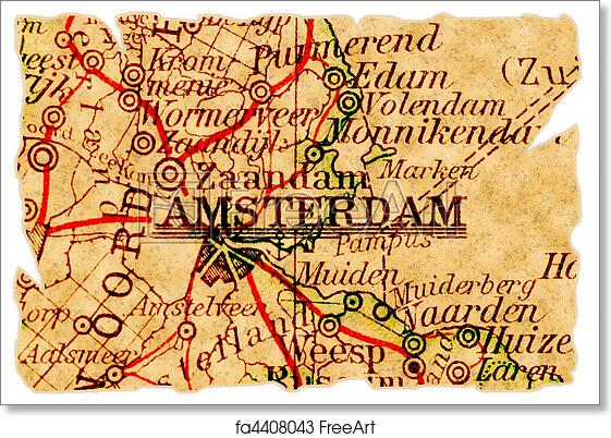 graphic regarding Printable Map of Amsterdam identified as Absolutely free artwork print of Amsterdam aged map