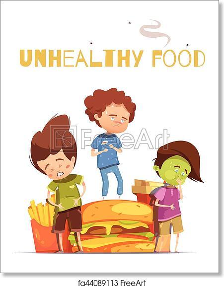 Free art print of Junk Food Harmful Effects Cartoon Poster