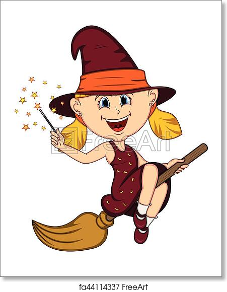 Free art print of Beautiful funny witch fly with broom and stick for  halloween cartoon