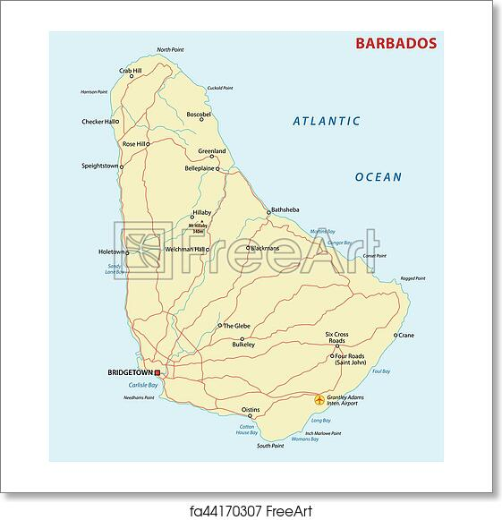 Free art print of Barbados road map