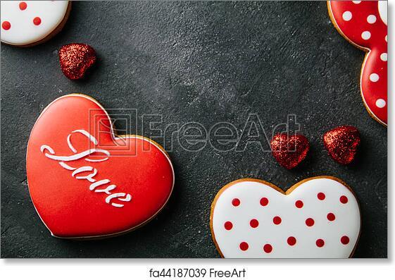 Free Art Print Of Beautiful Background For Valentine S Day With Gingerbread Hearts