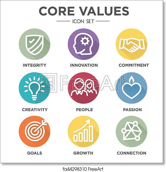 Free art print of Core Values Round MultiColored