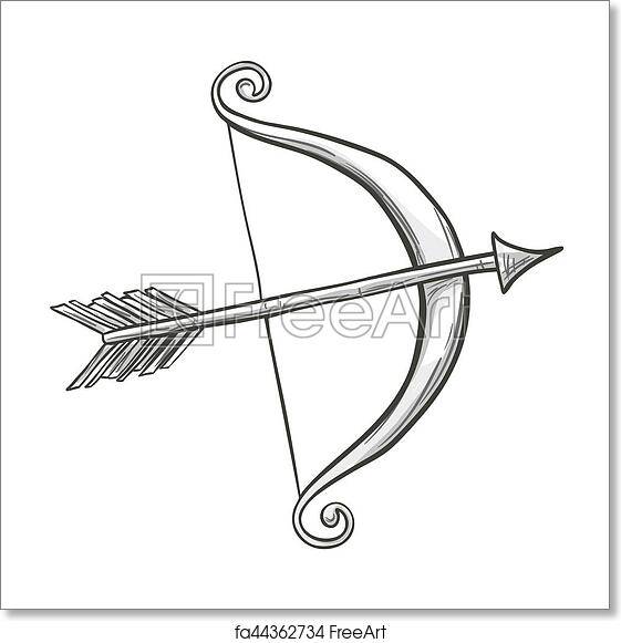 Free Art Print Of Sketch Cupid Bow And Arrow Monochrome Sketch