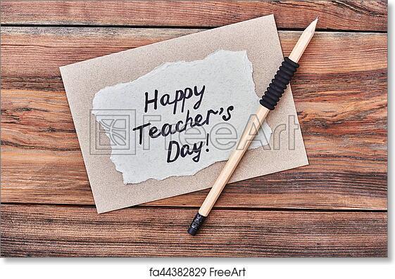 efe2421220b96 Free art print of Pencil, happy Teacher's Day card.