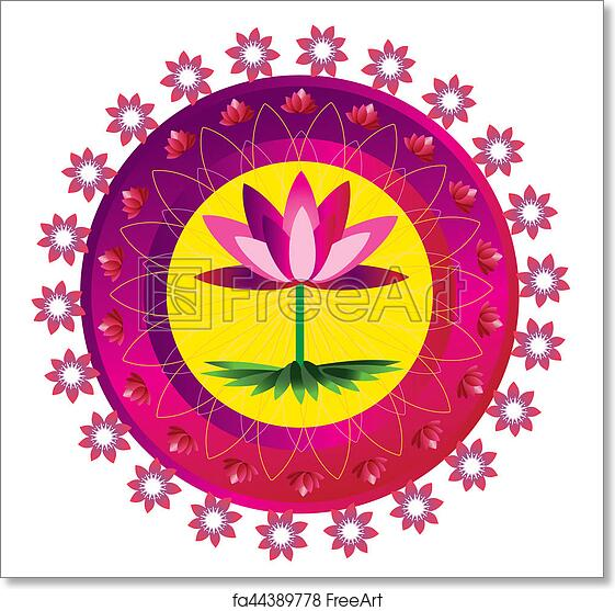 Free Art Print Of Lotus Flower Pattern Mandala Mandala Round Circle