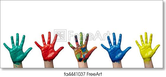 Color Painted Child Hand Art Craft Art Print Home Decor Wall Art Poster F