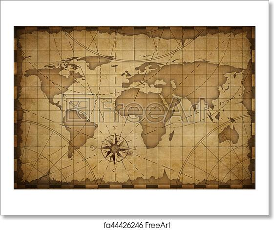 Free art print of old world map background old nautical vintage free art print of old world map background gumiabroncs Choice Image