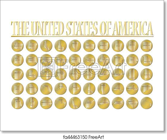 Free art print of 50 United States Gold Coins