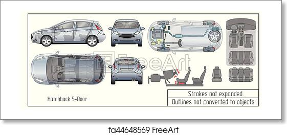 Car Interior Parts >> Free Art Print Of Car Hatchback Interior Parts Engine Seats Dashboard Drawing Blueprint Outlines Not Converted To Objects