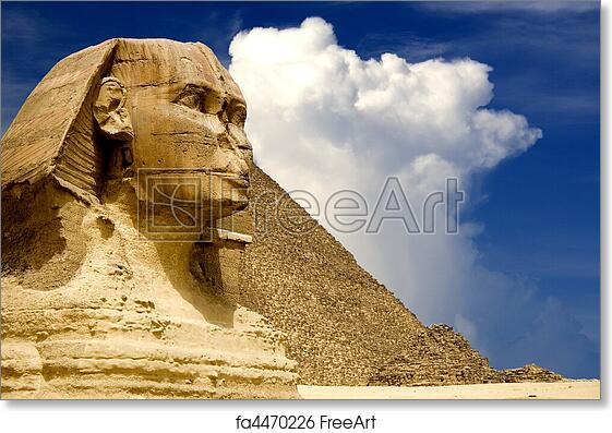 free art print of egyptian sphinx and pyramid the sphinx and the