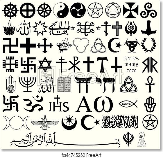 Free Art Print Of Religious Symbols From The Top Organised Faiths Of