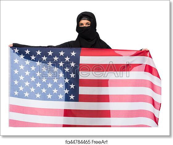 free art print of muslim woman in hijab with american flag