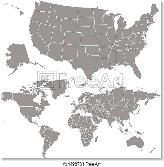 Vector Usa Map On Globe Maps Usa Map Images