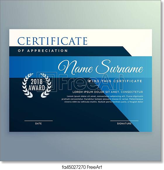 Free Art Print Of Modern Blue Certificate And Award Design Template