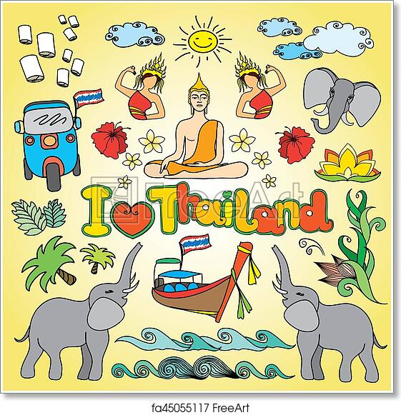 Free Art Print Of I Love Thailand Set Thai Color Vector Icons And
