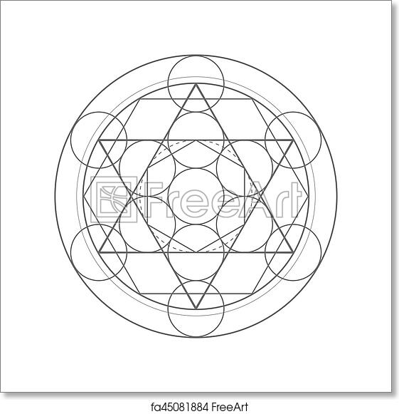 Free art print of Metatrons Cube  Sacred geometry illustration