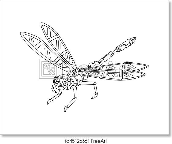 Free Art Print Of Steampunk Style Dragonfly Coloring Book Vector