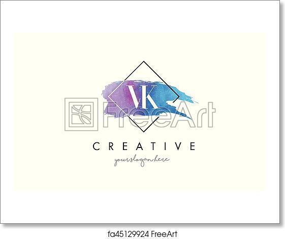 Free art print of VK Letter Logo Circular Purple Splash Brush Concept