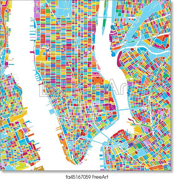 Colorful Map Of Usa.Free Art Print Of New York City Usa Colorful Vector Map New York