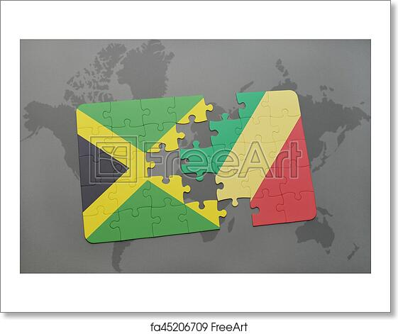 Free art print of Puzzle with the national flag of jamaica and republic of  the congo on a world map