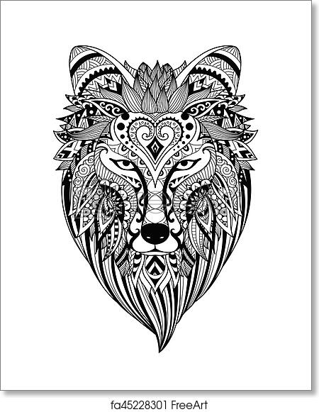 Free art print of Zendoodle stylized dire wolf. Zendoodle ...