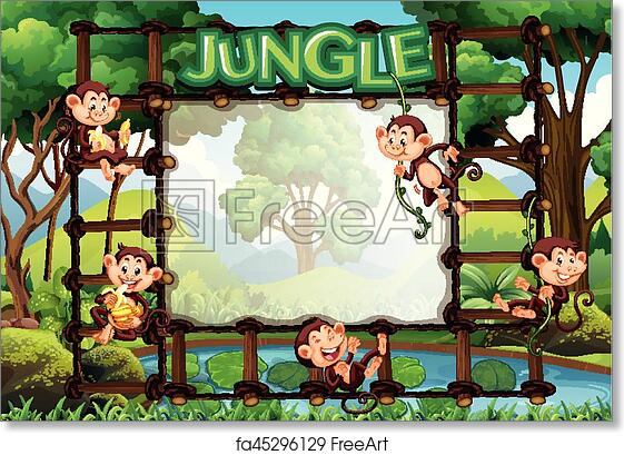 Free Art Print Of Border Template With Monkeys In Jungle Border