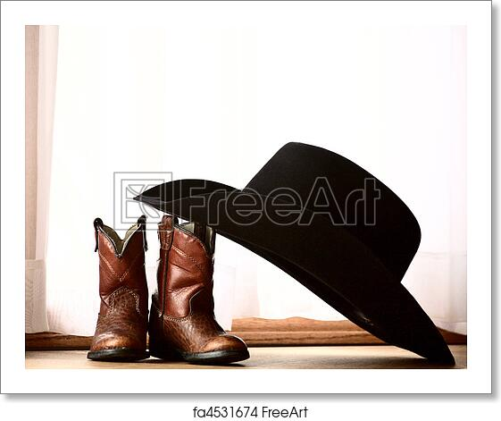 Free art print of Cowboy hat leaning on small boots. Cowboy hat ... 5397d0909b6a