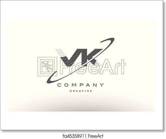 Free art print of Vk v k swoosh grey alphabet letter logo