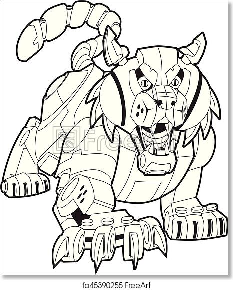 Free Art Print Of Mechanical Robot Bobcat Or Wildcat Vector Mascot